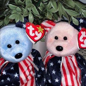 "Pink & Blue ""Spangle"" TY Bears"